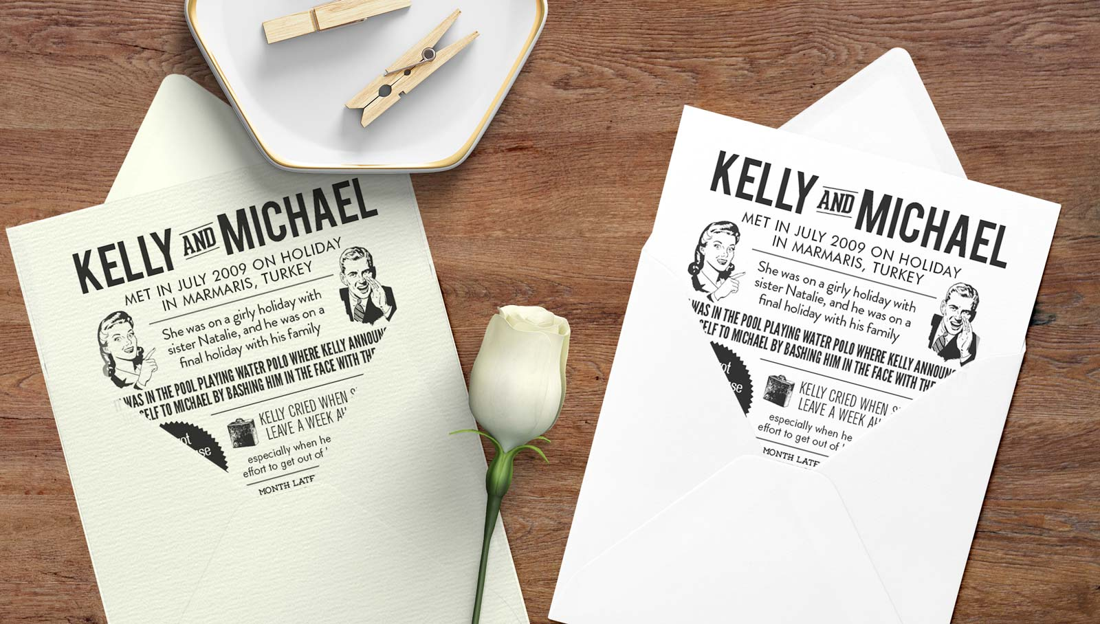 story invitation design with matching envelopes